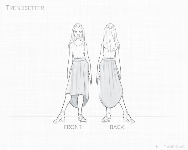Trendsetter Skirt Sewing Pattern Line Drawing for Ellie and Mac Sewing Patterns