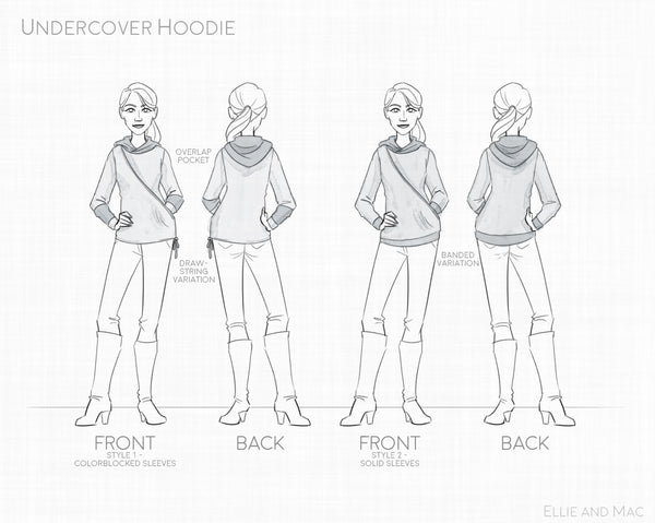 Undercover Women's Hoodie Sewing Pattern Line Drawing for Ellie and Mac Sewing Patterns