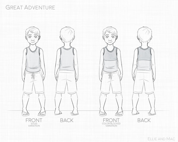 Boy's Great Adventure Tank Top Pattern Line Drawing