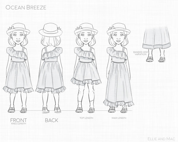 Ocean Breeze Sewing Pattern Line Drawing For Ellie and Mac Patterns