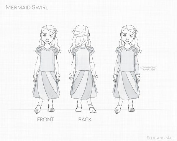 Mermaid Swirl Dress Pattern Line Drawing for Ellie and Mac Sewing Patterns