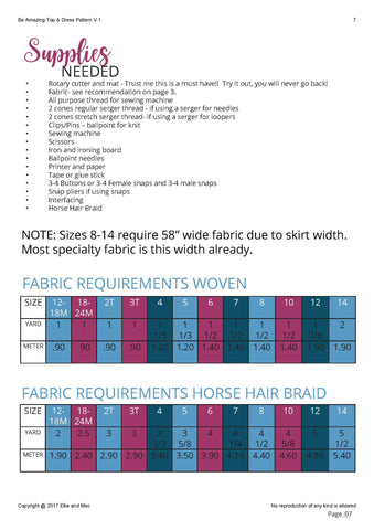 Be Amazing Fabric Requirements Chart and Supplies List