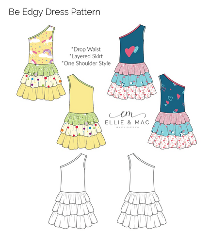 Kid's Be Edgy Tiered Layered Ruffle Drop Waist one shoulder Dress sewing pattern by Ellie and Mac Sewing patterns