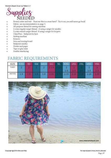 Beach Cover Up Fabric Requirements Chart
