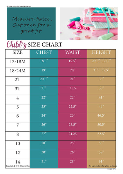 Be Invincible Skort Size Chart for Ellie and Mac Sewing Pattern
