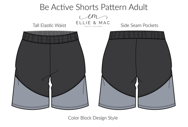 Be Active Adult Athletic Shorts Sewing Pattern by Ellie and Mac Sewing Patterns