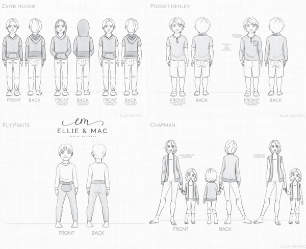 Playtime Capsule Line Drawing Ellie and Mac Sewing Pattern
