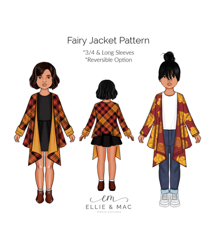 Girls Fairy waterfall cardigan Jacket sewing pattern by Ellie and Mac Sewing Patterns