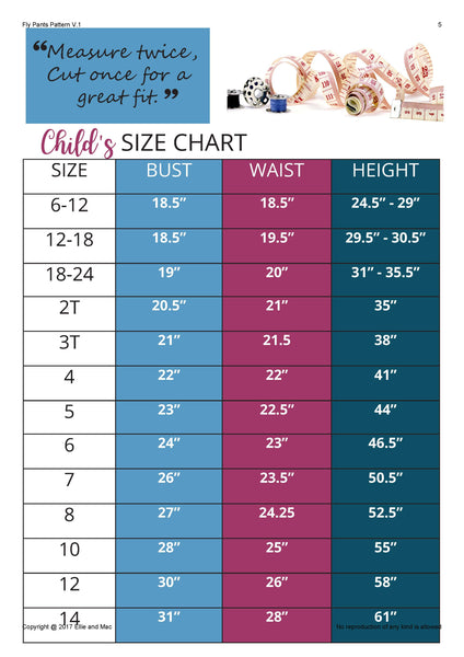Playtime Capsule Sewing Pattern Size Chart for Ellie and Mac Sewing Patterns