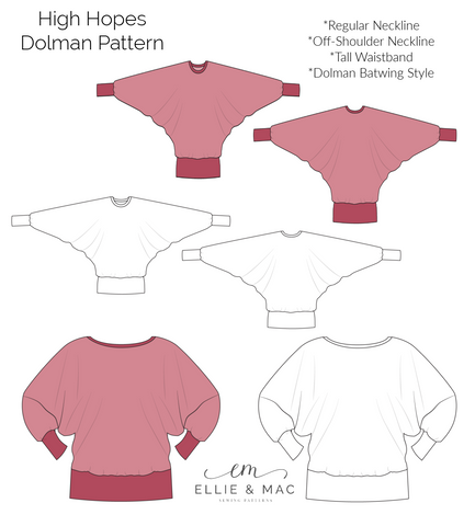 High Hopes Dolman Batwing Top Sewing Pattern for Women by Ellie and Mac PDF Sewing Patterns Best Sewing Patterns