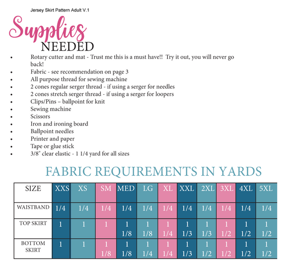 Jersey Skirt Adult Fabric Requirements Chart for Ellie and Mac Sewing Patterns