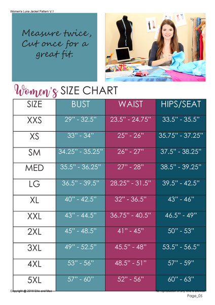 Luna Jacket Size Chart for Ellie and Mac Sewing Pattern