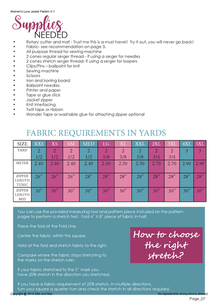 Luna Fabric requirements chart for ellie and mac sewing patterns
