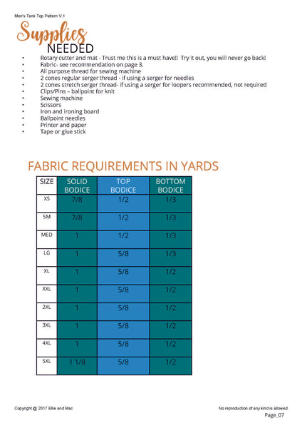 Mens Tee Sewing Pattern Fabric Requirements Chart