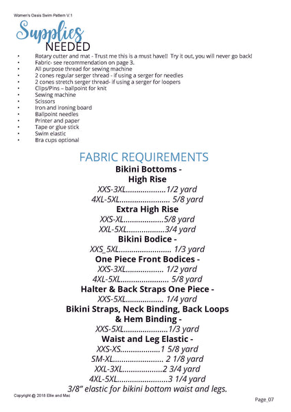 Women's Oasis Swimsuit Fabric Requirements Chart for Ellie and Mac