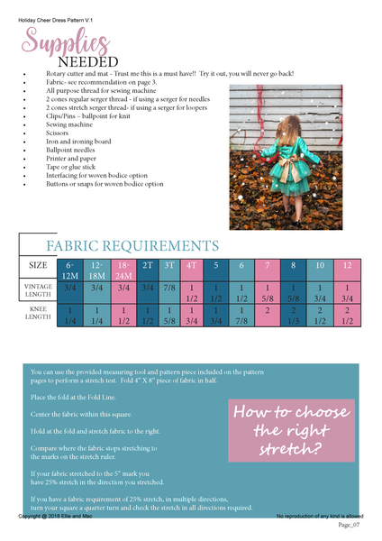 Holiday Cheer Dress Fabric Requirement Chart