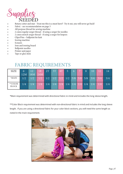 Radical Rashguard Fabric Requirement Chart by Ellie and Mac Sewing Patterns