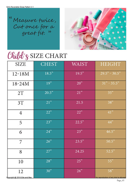 Reversible Dress Sewing Pattern Size Chart for Ellie and Mac Patterns