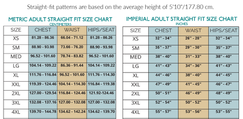 Straight Fit Size Chart Active Athletic Tank Top Sewing Pattern by Ellie and Mac PDF sewing patterns - Best Sewing Patterns