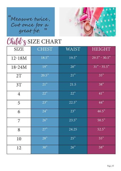School Cool Size Chart for Ellie and Mac Sewing Patterns