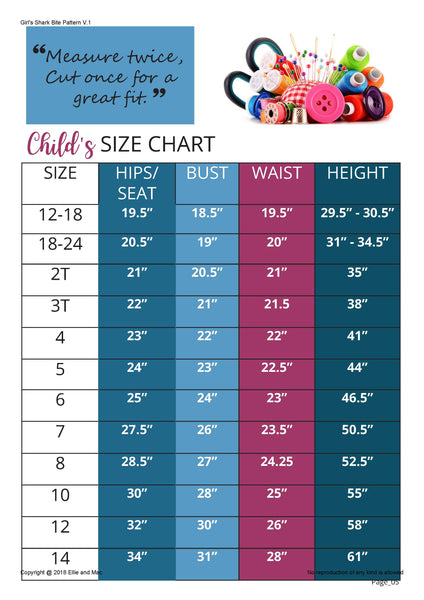 Shark Bite Top Pattern Size Chart for Ellie and Mac Sewing Pattern