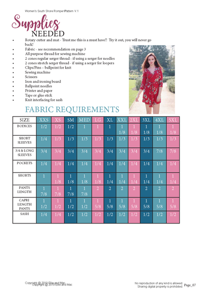 South Shore Fabric Requirements Chart for Ellie and Mac Sewing Patterns