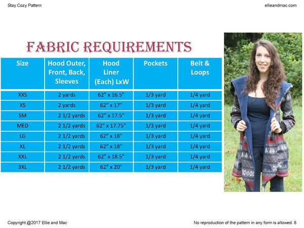 Women's Jacket Stay Cozy Fabric Requirements Chart