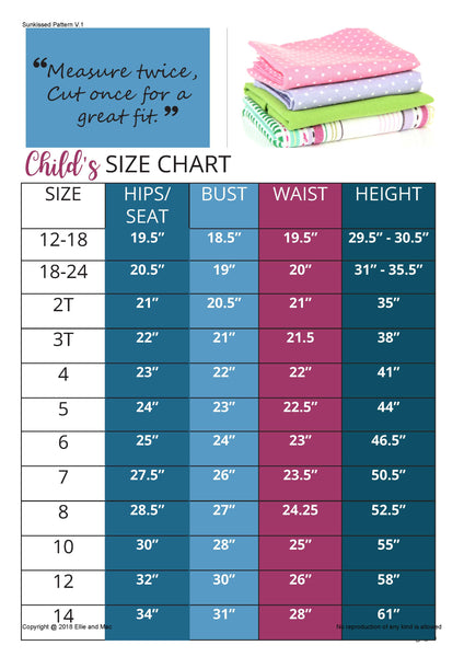 Sunkissed Dress Sewing Pattern Size Chart for Ellie and Mac
