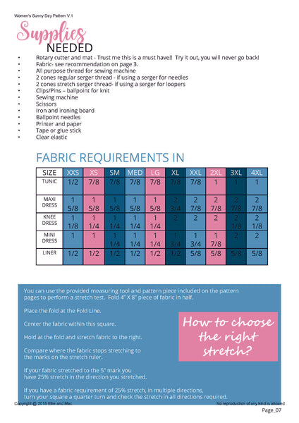 Sunny Day Fabric Requirement Chart