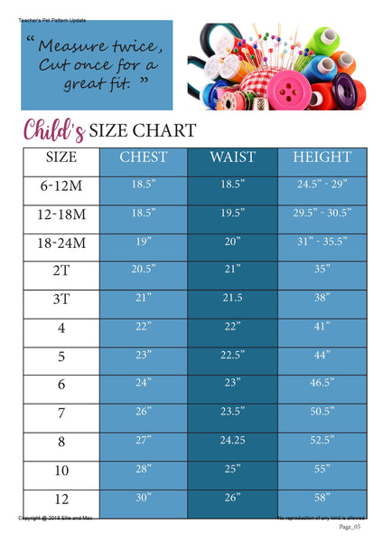 Teacher's Pet Size Chart