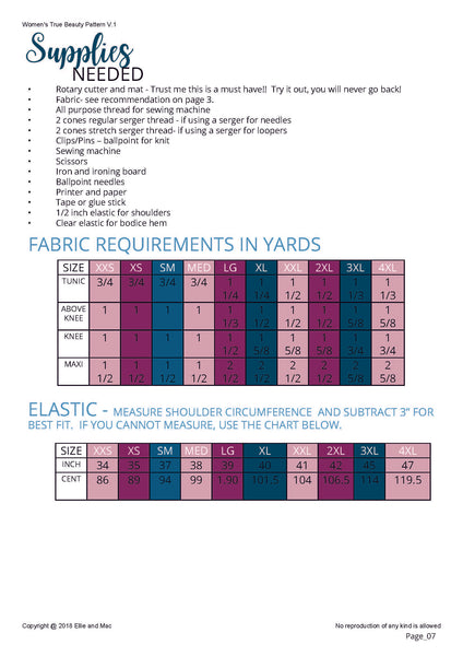 True Beauty Fabric Requirements for Ellie and Mac Sewing Patterns