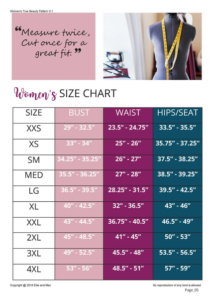 Size Chart for True Beauty Sewing Pattern for Ellie and Mac Sewing Patterns