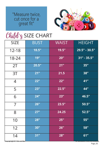 Vacation Romper Girl's Size Chart