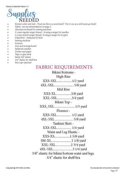 Waterfall Swimsuit Sewing Pattern Fabric Requirements Chart