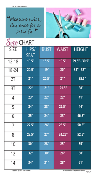 Be Active Kids Size Chart