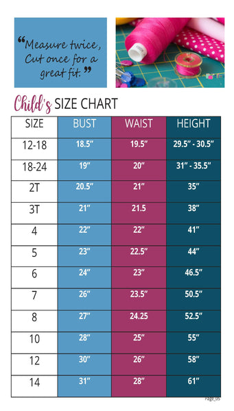 Size chart for girls ellie and mac sewing patterns