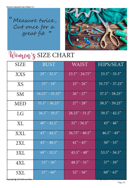 Beautiful Day Size Chart for Ellie and Mac Sewing Patterns