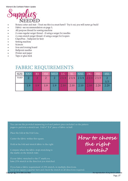 Be Confident Women's Sewing Pattern Fabric Requirement Chart