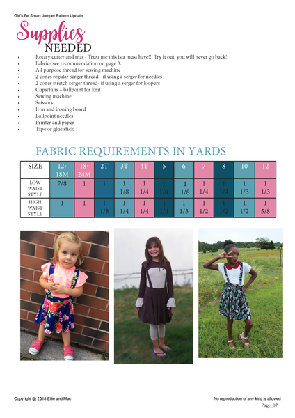 Be Smart Sewing Pattern Fabric Requirements Chart