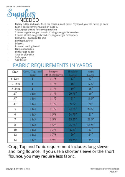 Girls Be The Leader Pattern Fabric Requirement Chart for Ellie and Mac Sewing Patterns