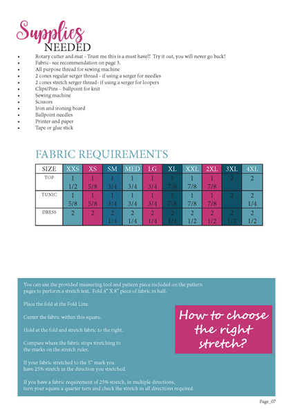 Day To Night Fabric Requirements Chart for Ellie and Mac Sewing Patterns