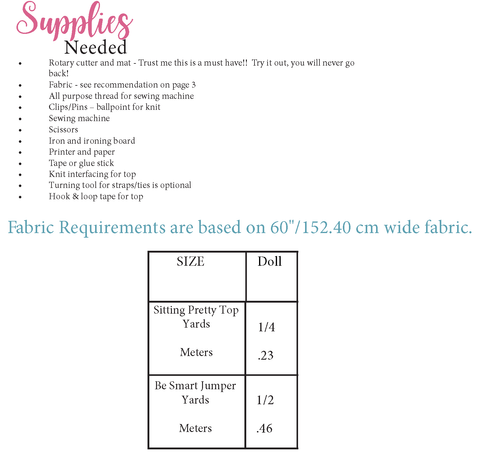 Doll sewing pattern fabric requirements chart for trendy sewing patterns