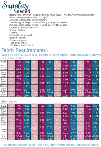 Swimsuit fabric requirements chart for ellie and mac sewing pattern