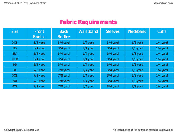 Fall In Love Fabric Requirements