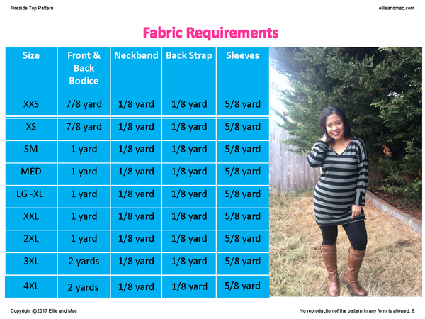 Fireside Fabric Requirement Chart