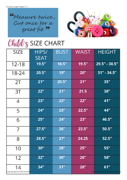 Girls Be Greater Sewing Pattern Size Chart for Ellie and Mac Sewing Patterns