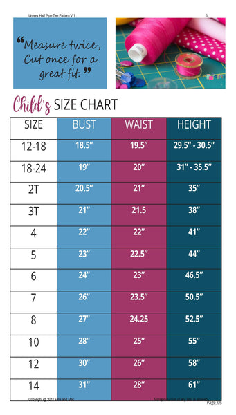 Half Pipe Sewing Pattern Size Chart by Ellie and Mac Sewing Patterns