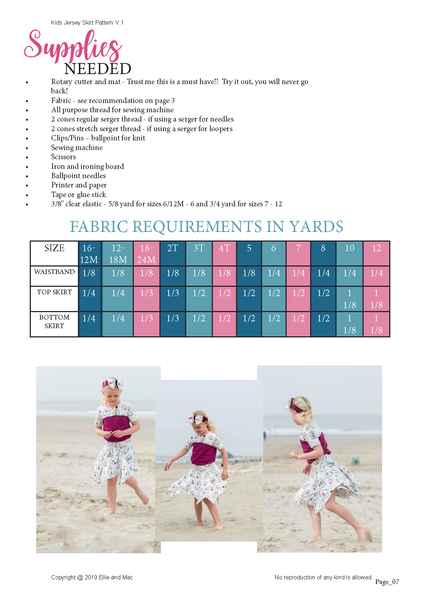 Jersey Skirt Kids Fabric Requirements Chart for Ellie and Mac Sewing Patterns