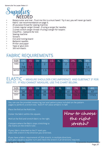 Be The Leader Fabric Requirement Chart for Ellie and Mac Sewing Patterns