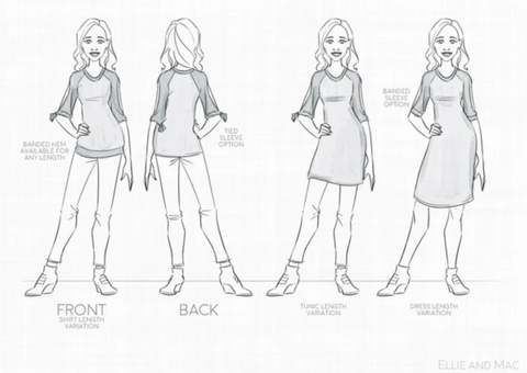 Lucky One Open Sleeve Top & Dress Trendy Sewing Pattern for beginners.